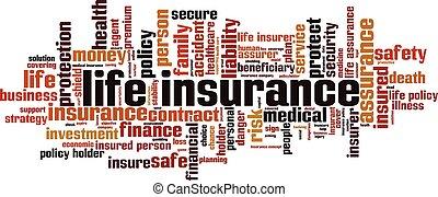 vita, parola, assicurazione, nuvola