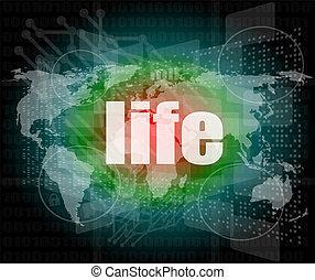 vita, parole, su, affari, digitale, schermo tocco
