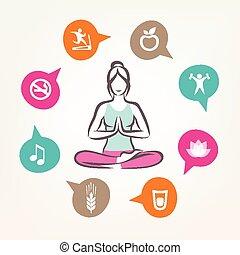 vita, sanità, infographics, stile, idoneità, yoga, harmonic