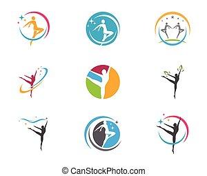 vita, sano, vettore, sagoma, logotipo, icona