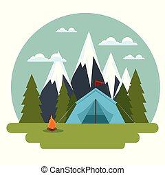 vita selvaggia, concetto, campeggio