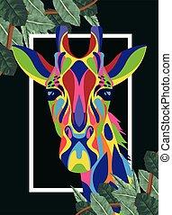 vita, selvatico, cornice, technicolor, giraffa, mette foglie