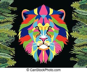 vita, selvatico, cornice, technicolor, leone, mette foglie