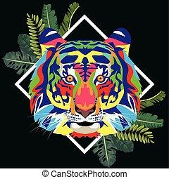 vita, selvatico, cornice, technicolor, mette foglie, tiger