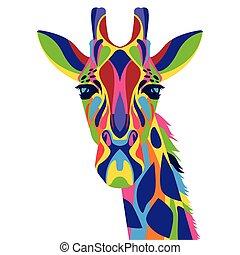 vita, selvatico, icona, technicolor, giraffa