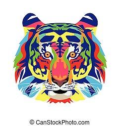 vita, selvatico, icona, technicolor, tiger