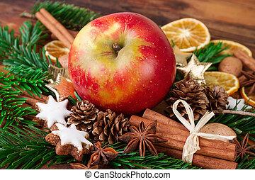 vita, spezie, mela, rustico, ancora, natale, rosso