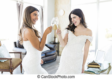 vita, spose, due, festeggiare, champagne, evento