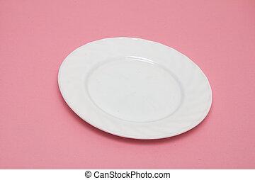vita tallrik, på, a, rosa bakgrund