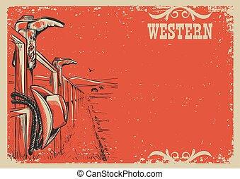 vita, testo, illustrazione, vettore, fondo, cowboy's