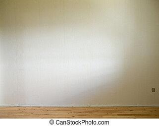 vita vägg, med, trä golvbeläggning, och, dagsljus, från,...