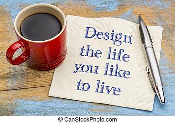 vita, vivere, disegno, come, lei