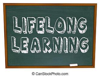 vitalício, -, chalkboard, aprendizagem