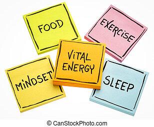 vital, énergie, concept, sur, notes collantes
