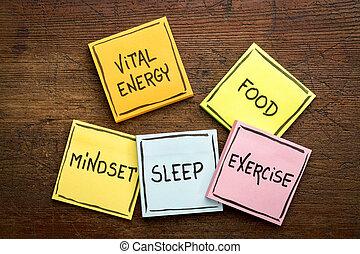 vital, energía, concepto, en, notas pegajosas