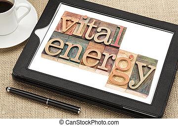 vital, energia, tipografia, ligado, tabuleta