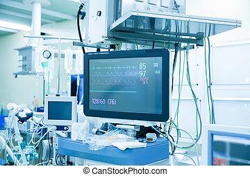 vital, funções, (vital, signs), monitor, em, um, quarto...