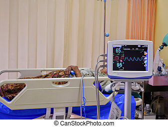 Vital signs monitor in hospital infirmary