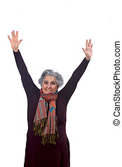 vital woman with arms outstretched on white