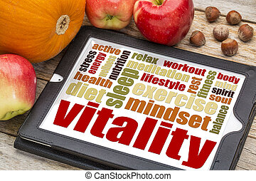 vitalidade, conceito, ligado, tablete digital