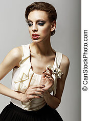 vitality., 超現代化, 豪華, supermodel, 在, 時裝, 無袖, dress., 雄心