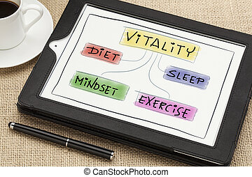 vitality concept on digital tablet