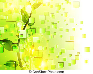 Green sprout with drops at leaves over fresh green cubes background