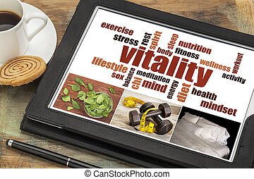 vitality word cloud on digital tablet