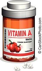 Vitamin A Capsule in Container