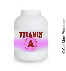 Vitamin A container, isolated on a white background