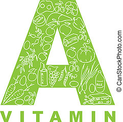 "Vitamin A. The form ""A"" filled with meal."