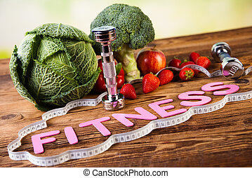 Vitamin and Fitness diet, dumbbell