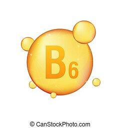 Vitamin B 6 gold shining icon. Ascorbic acid. Vector ...