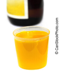 Vitamin B Complex Syrup with bottle over white background