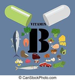 Vitamin B illustration on the blue background. Vector ...