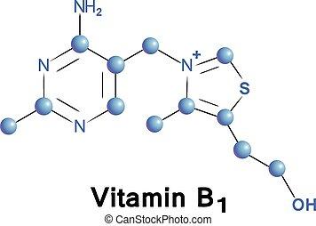 Vitamin b1 chemical formula, molecule structure, medical ...