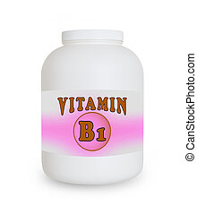Vitamin B1 container, isolated on a white background