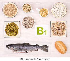 Vitamin B1 containing foods on white background, top view