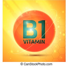 Vitamin B1 icon with bright color glossy ball for science ...