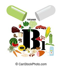 Vitamin B1 illustration on the white background. Vector ...