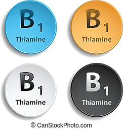 Vitamin B1 - Set of four vitamins different colors. eps10