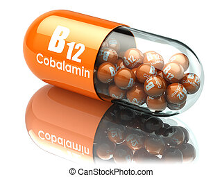Vitamin B12 capsule. Pill with cobalamin. Dietary...