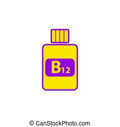 Vitamin B12 flat icon in yellow-violet colors.