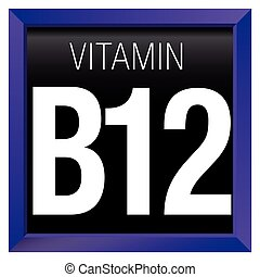 VITAMIN B12 Icon - Chemistry - Violet square frame with black background