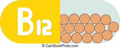 Vitamin b12 pill isolated on white background