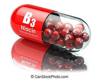 Vitamin B3 capsule. Pill with Niacin or nicotinic acid....
