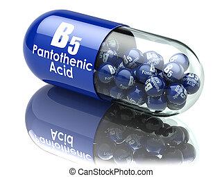 Vitamin B5 capsule. Pill with pantothenic acid. Dietary...
