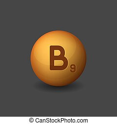 Vitamin B9 Orange Glossy Sphere Icon on Dark Background. Vector