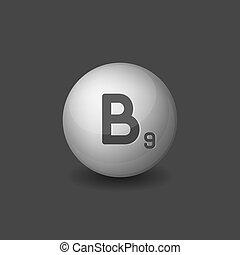 Vitamin B9 Silver Glossy Sphere Icon on Dark Background. Vector