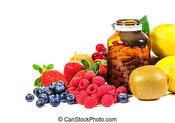 Vitamin C and mix fruit on white background